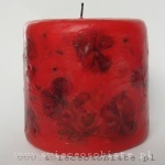 red candle with geranium, small