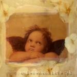 """świeca z fragmentem obrazu Rafaela Santi """"Madonna sykstyńska"""", z floksami i koronką, duża"""