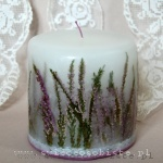 candle with heather and lace, small