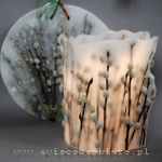 lampion parafinowy z suszonymi baziami, średnica ok. 17 cm, wysokość ok. 20 cm, obrazek parafinowy do powieszenia w oknie, średnica 30 cm