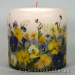 Candle with pansies and forget-me-nots, small