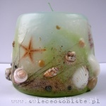 candle with shells and sand, small