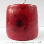 dark red candle with gerbera, small