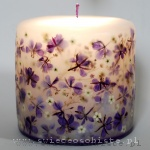 Candle with violet flowers, small