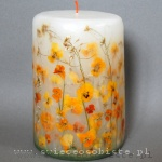 Candle with yellow pansies, big