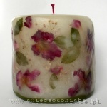 candle with flowers of wild rose, small