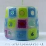 """Little squares candle"", glass drops, small"