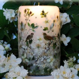 Świeca ślubna z parą słowików i białymi kwiatami, duża