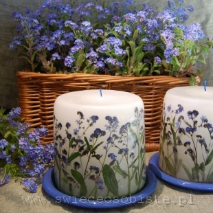 candle with forget-me-nots, small
